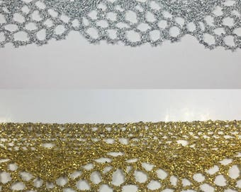 """1-1/4"""" Metallic Lace - 5 Continuous Yards - Colors Available: Gold or Silver"""
