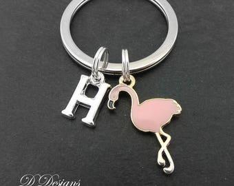 Flamingo KeyRing, Pink Flamingo KeyChain, Bird KeyChain, Personalised Flamingo Key chain, Flamingo Gifts