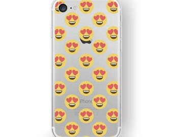 iPhone 7 plus Clear Case Cute Emoji Pattern, Hearted Eyes Happy Heart Kawaii emoticon Print for iPhone 6s / 6 plus Transparent Cover for her