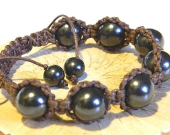 Shungite bracelet , Macrame bracelet, Natural beads bracelet, emf protection bracelet
