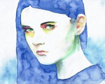 Girl, portrait, watercolor on paper, 21 x 29 cm, the original drawing, evgeniyfill82