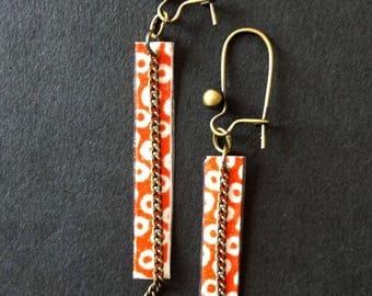 Tart red white polka dot paper stick earrings