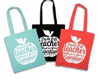 Teacher tote bag ZWART   Teacher gift idea   Teacher bag appreciation gift   Gift for teacher   National teacher day   Shopping tote bag