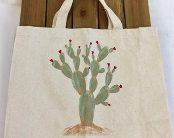 "Canvas ""Nopales"" Market Tote Bag"