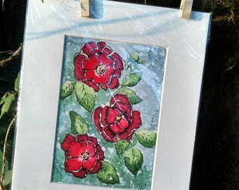 Matted Original Watercolor & Ink Painting of Red Roses