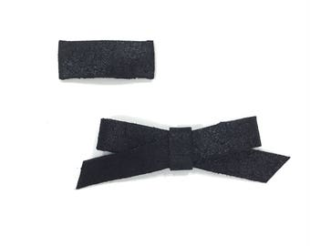Midnight Shimmer Leather Bow