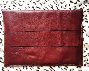"Handmade Genuine Red Wine Color Cowhide Leather MacBook Air/Pro 13"" Sleeve Laptop Case"