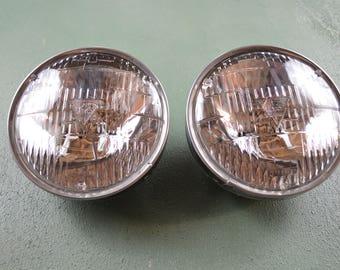 Vintage GM Auto Headlights, light buckets and chrome trim rings, T 3 High Beams,  #490