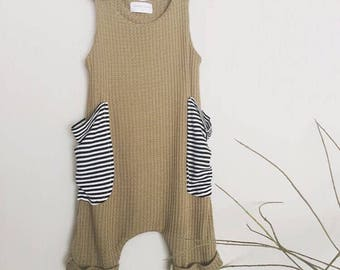 Baby boy harem romper, olive green waffle knit, baby boy outfit, baggy stripes pockets, shorts romper.