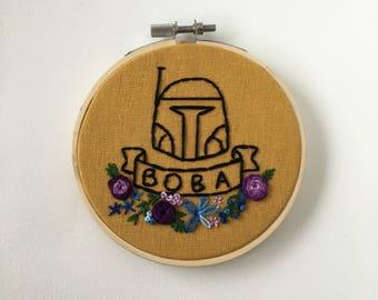 Mini Floral Boba Fett Star Wars Hand Embroidery