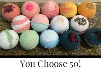 FREE SHIPPING Bath Bombs Wholesale, Bulk Bath Bombs Favors, 50 Bath Bomb, Bath Fizzies. Coconut Oil, Epsom Salt, Shea Butter