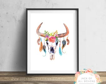 Boho Cow Skull - Wall Art Print