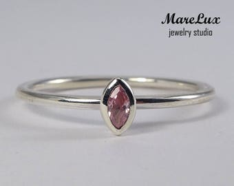 Marquise Pink Diamond Silver Ring, Simulated Pink Diamond CZ Marquise Stackable Ring, Stacking Marquise Cut Pink Cubic Zirconia Promise Ring