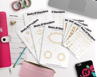 Mandala Bullet Journal Kit, Mandala planner stickers, gold planner stickers, planner sticker kit | Bullet Journal Stickers MKBJ