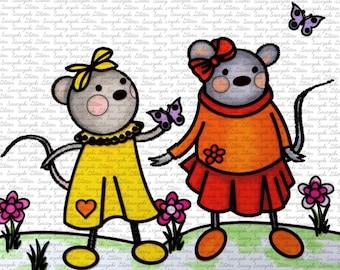 Garden Mice Digital Stamp by Sasayaki Glitter