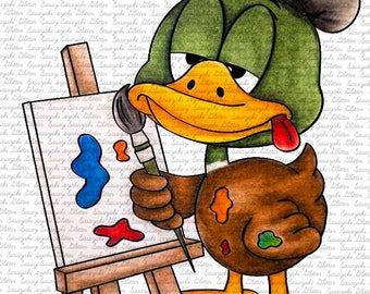 Image #88 - Painter Duck  Digital stamp by Sasayaki Glitter Digital Stamps - Naz Smith - Line art only - Black and White