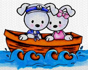 Bunnies In The Boat Sasayaki Glitter Digital Stamps, Black and White Only