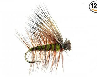 Elk Hair Caddis Olive Fly Fishing Trout Flies - Hand Tied Attractor / Prospecting Trout Fly Pattern