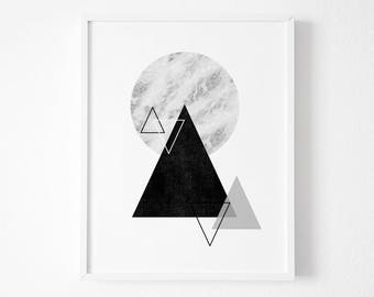 Geometric Triangle  Wall Art Prints Geometric Art - Geometric Prints - Circle Art  - Triangle Art, Geometric wall art - Geometric Poster
