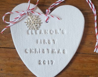First Christmas Ornament ~ Christmas Decor ~ Personalized Christmas Ornament ~ Baby's First Christmas ~ Clay Christmas Ornament