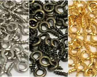 25- 50-100 Eye screw Bails, (10x5) Eye Hook Pins gold/bronze/dull silver Tone Cabochon Charm Connector Loop