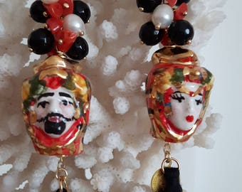 Earrings with coral, pearls, teste di moro Caltagirone ceramics, Onyx and silver