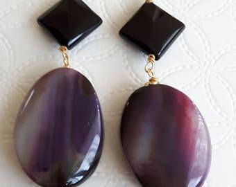 Gemstone Earrings Purple and onyx agate, silver pendant earrings