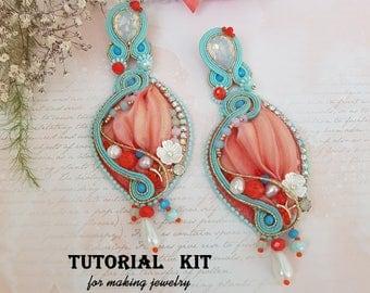 Jewelry DIY Kit - Shibori Soutache TUTORIAL KIT (limited edition) - Earrings 3 in 1: Long Earrings, Small Earrings, Pendant, Earrings ideas