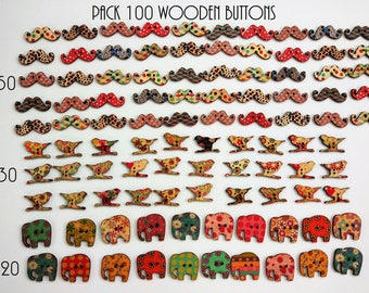 CLEARANCE! wood buttons 100 units - SALE! 100 assorted wooden buttons - sale! Wooden buttons - Wooden buttons-buttons for DiY