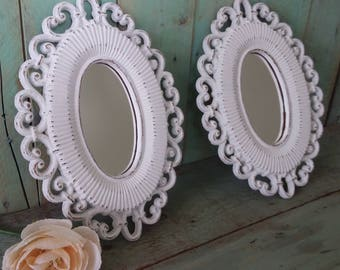 Two Small Shabby Chic Vintage Wall Mirrors Painted Antique White and Distressed Homco