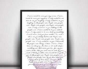 Purple Rain song lyrics, Wall Art, Instant Digital Download, ready to print,frame and hang