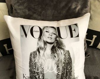 Kate Moss Paris Vogue 'Sequins' Print on White Satin Cushion Cover