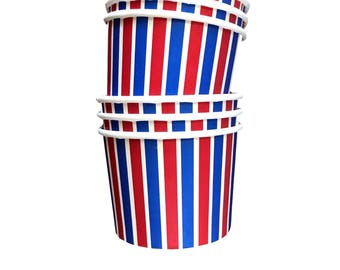 Ice Cream Cups// Red White and Blue Striped Treat Cups