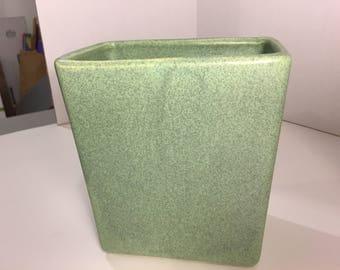 Vase, Rectangular Mid-Century Green Splattered Vase, Shawnee Pottery?