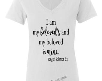 NEW Woman's Short Sleeve T Shirt Saying I am my beloved and my beloved is mine  Religious Inspirational statement  Top v neck