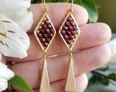 Elegant Gemstone Diamond Dangles in Gold >>  Petite Diamond Drop Earrings with Garnet Gems >> Gemstone Jewelry, Boho Style