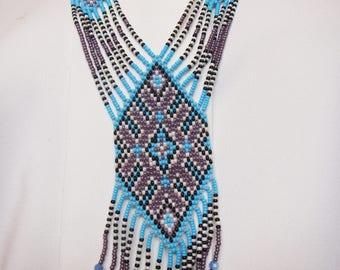 Beaded Gerdan Necklace, Long Necklace, Beaded Rope Necklace, Ukrainian gerdan, Beaded Collar, necklace ethnic, Boho necklace , Folk necklace