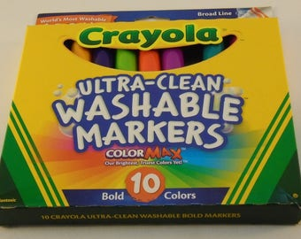 Crayola Ultra-Clean Washable Markers 10 Count Bold Colors Broad Line ColorMax