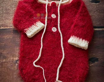 Photography prop sitter outfite romper bonnet Christmas outfit