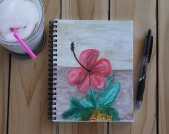 Hand Painted Spiral Journal; Wire Bound Blank Notebook; Writing Journal, Small Sketchbook; Watercolor Hibiscus