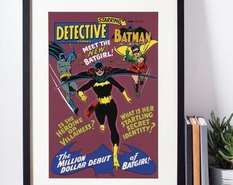 DC Comics Wall Art - Batman and Robin With Batgirl Cover Print - Matted and Framed