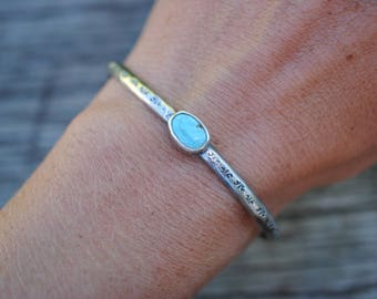 Stamped Turquoise Cuff | Sterling Silver