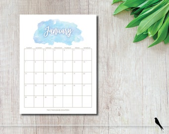 Pretty 2018 Watercolor Printable Wall Calendar - Blue Watercolor 12 Month Wall Calendar - Home Office Organizing - Instant Download Calendar