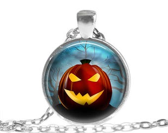 Jack O Lantern Necklace, Pumpkin Jewelry, Glass Photo Art Pendant, Cute Halloween Gifts, Two Sizes Available