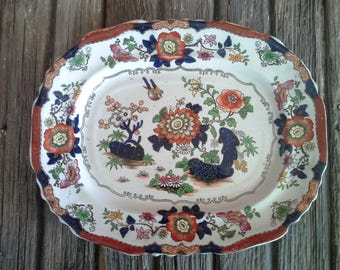 Antique Gaudy Ironstone Platter, Ashworth Bros Real Ironstone China, Floral Chinoiserie with Bird Imari Transferware, c.1860s, Free Shipping