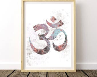 Printable Yoga Art, Yoga Wall Posters, Boho Chic Wall Art, Ohm Symbol, Zen Art, Instant Download, Digital Download, Om Print