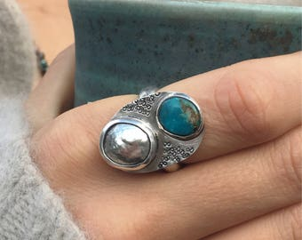 Turquoise Sterling Silver Ring, Silver Nugget Ring, Sterling Silver Ring, Size 6 Ring