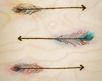 Feather Arrow - Water Color on Wood