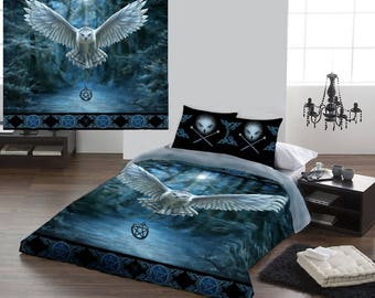 Owl duvet cover etsy for Housse de couette rock and roll