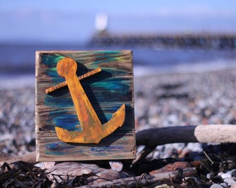 Wall art. rusty anchor with acrylic on driftwood